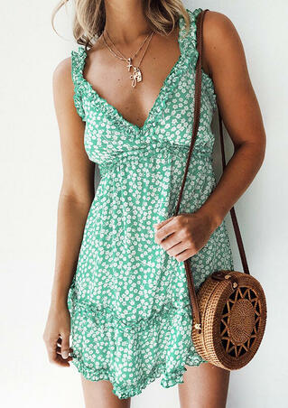 Floral Ruffled V-Neck Mini Dress without Necklace - Green