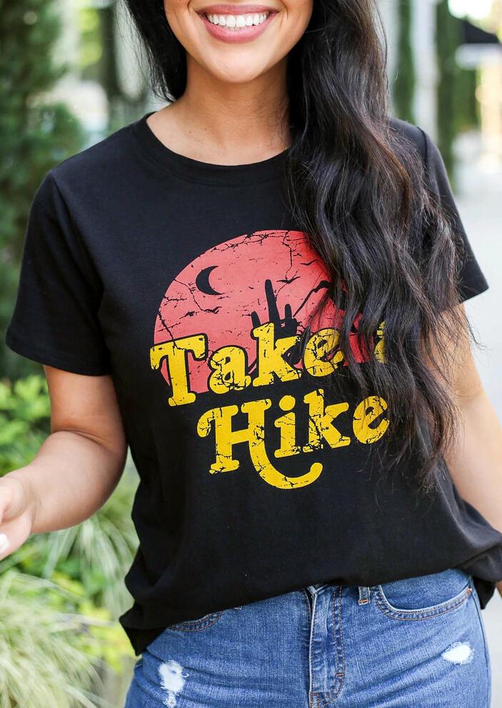 Take A Hike Moon O-Neck T-Shirt Tee – Black