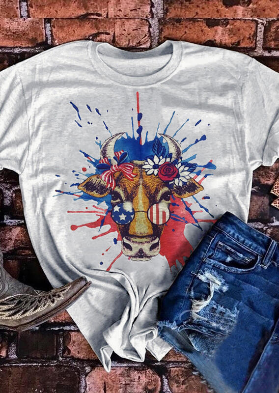 American Flag Bull's Head T-Shirt Tee - Gray