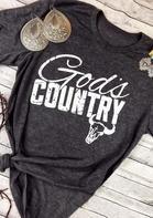 God's Country Steer Skull T-Shirt Tee - Dark Grey