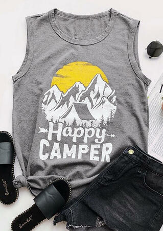 Happy Camper Mountain Arrow Tank - Gray