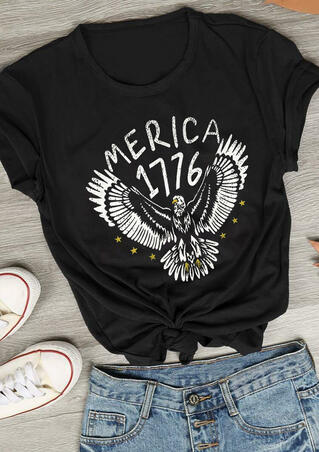 Eagle Merica 1776 T-Shirt Tee - Black