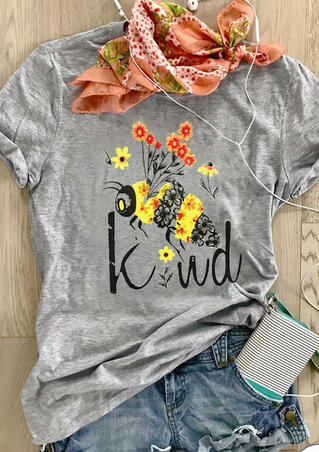Bee Kind O-Neck T-Shirt Tee - Gray