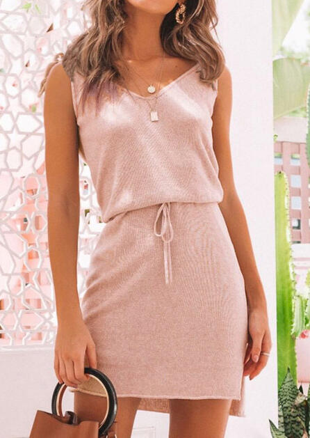 Solid Tie Drawstring V-Neck Casual Dress without Necklace - Pink