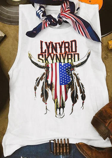 American Flag Lynyrd Skynyrd Tank - White