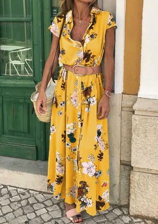 Floral Button Maxi Dress without Necklace - Yellow