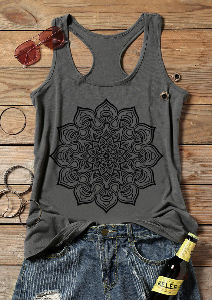 Mandala O-Neck Chic Tank - Gray фото