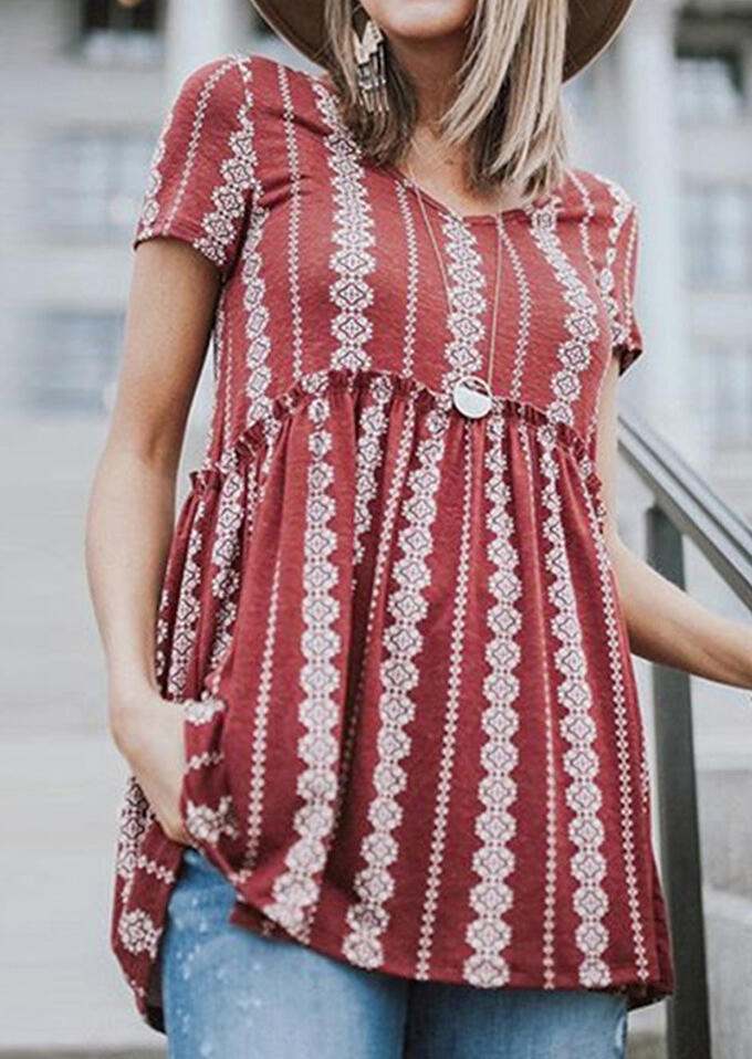 Geometric Printed V-Neck Blouse without Necklace – Red