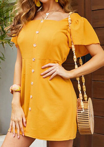 Solid Button Casual Dress without Necklace – Yellow