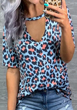 Leopard Printed Hollow Out Blouse - Leopard