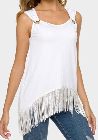 Solid Tassel Sleeveless O-Neck Blouse - White