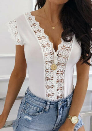 Solid Lace Splicing Blouse without Necklace - White