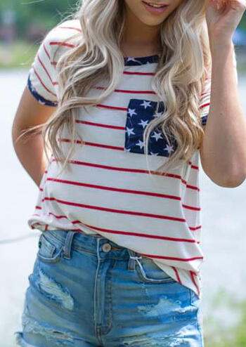Star American Flag T-Shirt Tee - Stripe