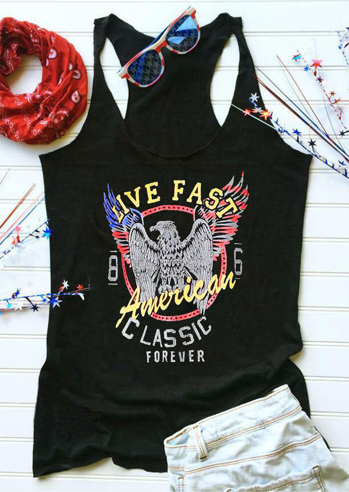 Live Fast American Classic Forever Eagle Tank – Black