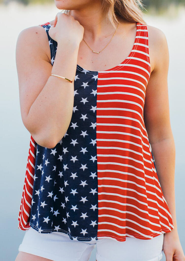 American Flag Striped Star Tank without Necklace – Stripe