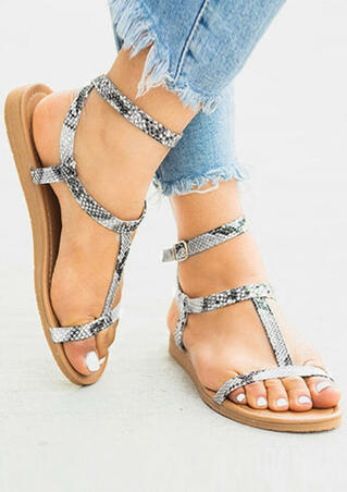 Snake Skin Printed Buckle Strap Sandals - Multicolor