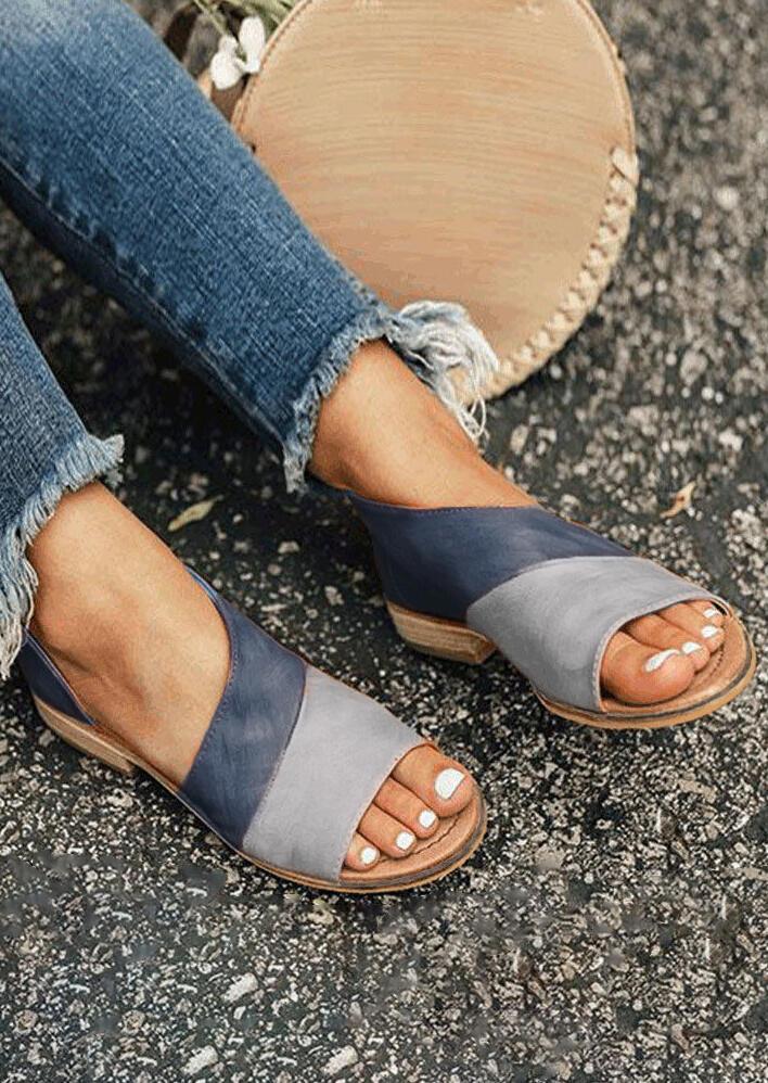 0273bd11d Color Block Peep Toe Flat Sandals - Light Green - Fairyseason
