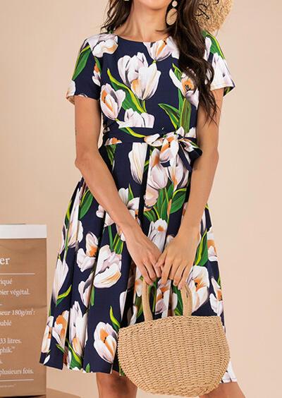 Floral Tie O-Neck Mini Dress – Navy Blue