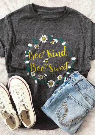 Bee Kind Bee Sweet T-Shirt Tee - Gray