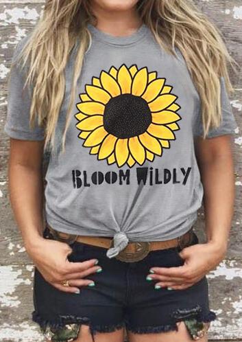 Sunflower Bloom Wildly T-Shirt Tee – Gray