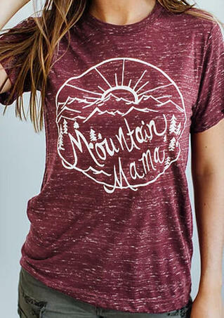 Mountain Mama O-Neck T-Shirt Tee - Burgundy