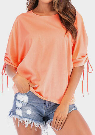 Solid Ruffled Tie Blouse - Orange