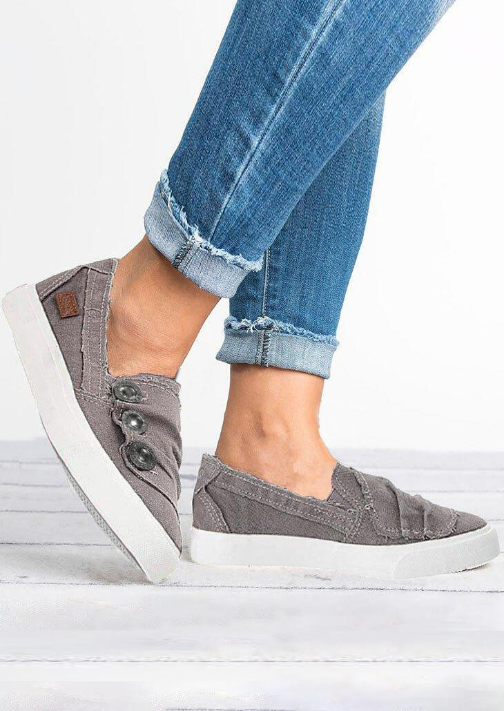 Solid Ruffled Button Flat Sneakers – Gray