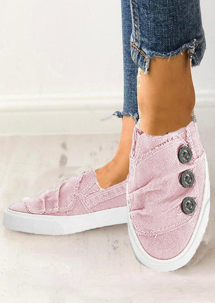 Solid Ruffled Button Flat Sneakers - Pink