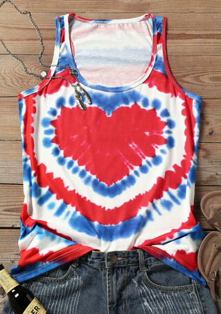 Heart Tie Dye O-Neck Tank - Multicolor