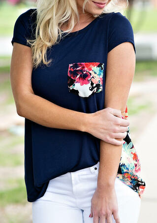 Floral Splicing Pocket O-Neck T-Shirt Tee - Navy Blue