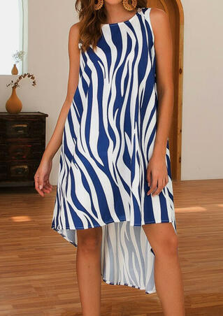 Zebra Pattern Asymmetric Casual Dress - Deep Blue