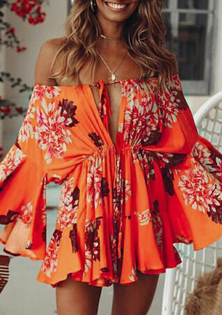 Floral Tie Mini Dress without Necklace - Orange