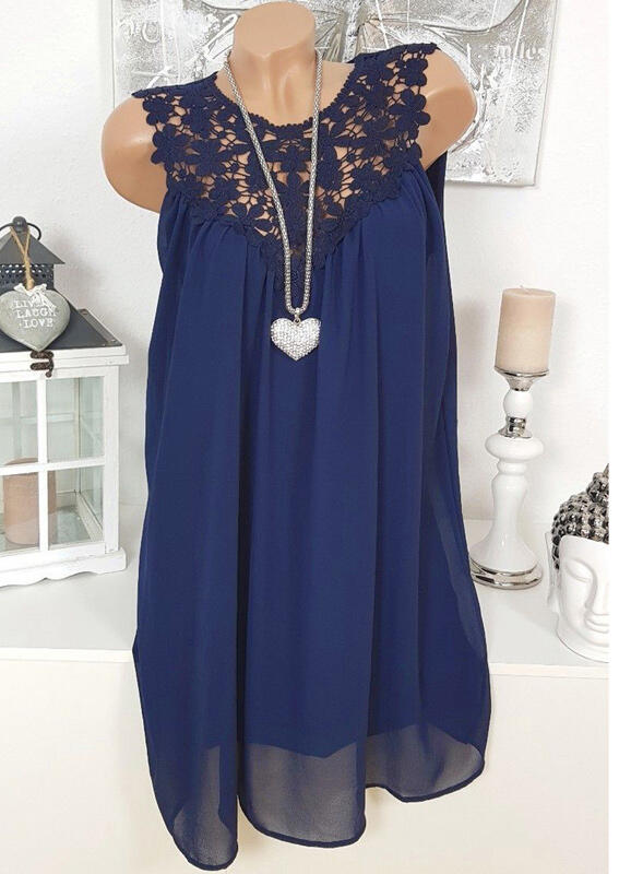 Solid Lace Splicing Tie Tank without Necklace - Navy Blue thumbnail