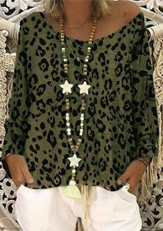 a17b3511ba1d Leopard Printed Slash Neck Blouse without Necklace - Army Green