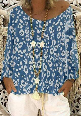 4bdbaf36a1d5 Leopard Printed Slash Neck Blouse without Necklace - Sky Blue