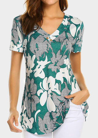 Floral Button V-Neck Blouse - Green