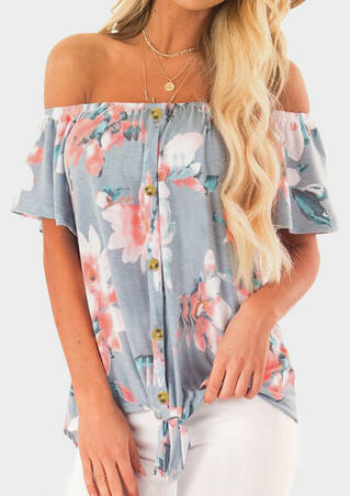 433eadd42e42 Floral Ruffled Off Shoulder Blouse without Necklace - Light Grey