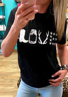 Love Boots Star T-Shirt Tee - Black