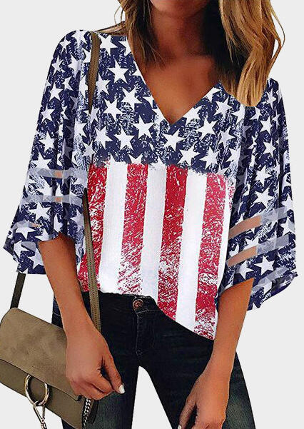 American Flag 4th of July Patriotic Star V-Neck Blouse Tops for Women in Navy Blue. Size: XL фото