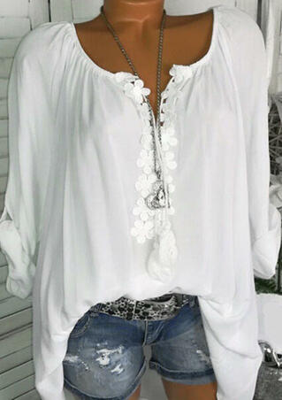 Flower Splicing Ruffled Blouse without Necklace - White