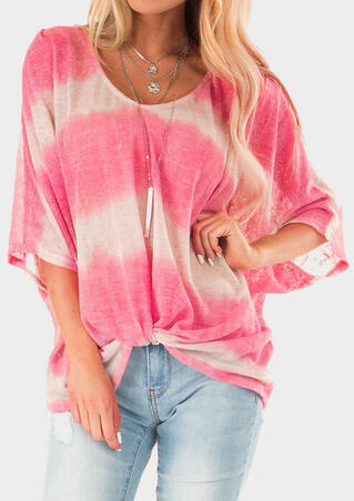 Striped Gradient O-Neck Blouse without Necklace - Pink