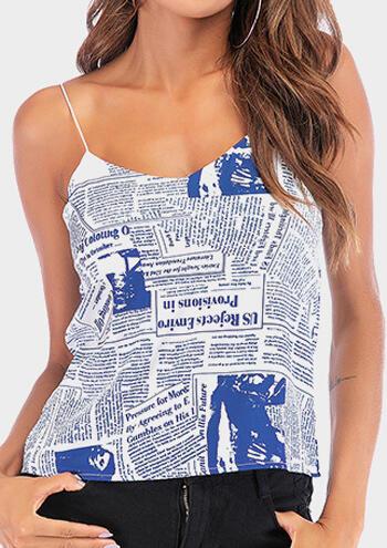 Letter Printed Newspaper Spaghetti Strap Camisole – Blue