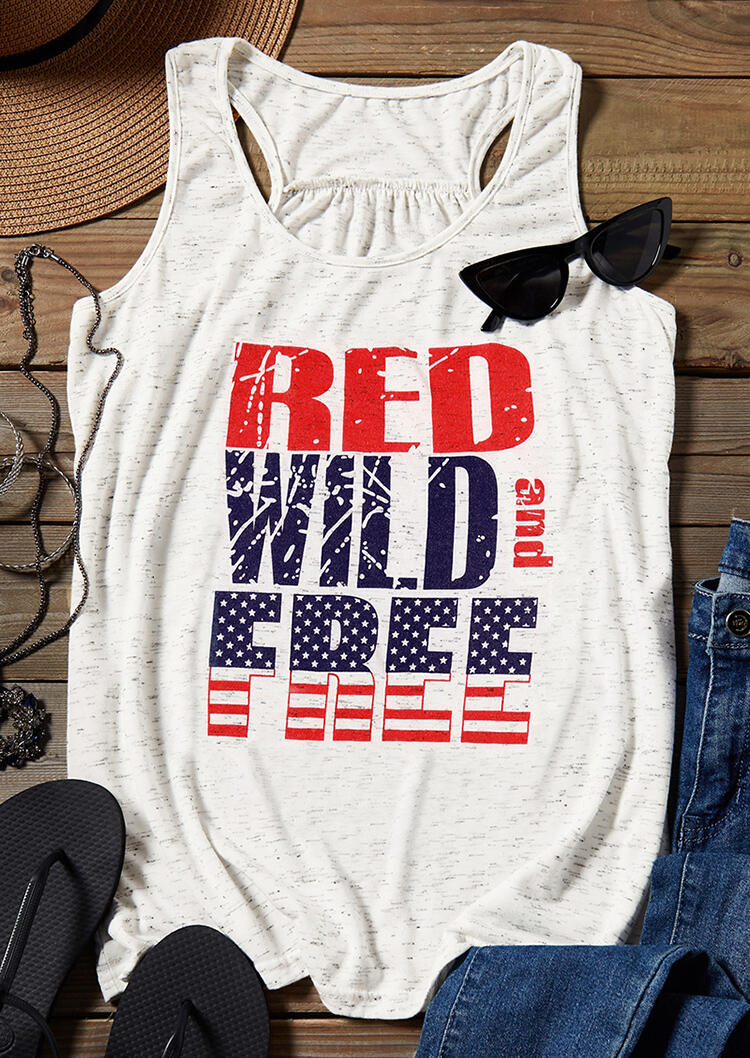 Red Wild And Free Tank – White