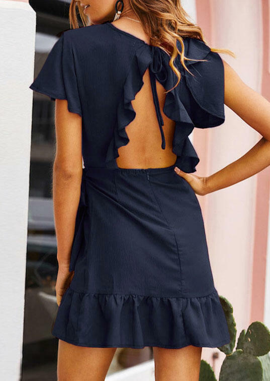 Solid Ruffled Hollow Out Mini Dress without Necklace – Navy Blue
