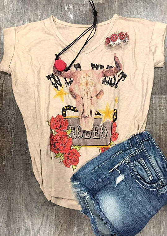 Floral Wild West Steer Skull T-Shirt Tee - Apricot
