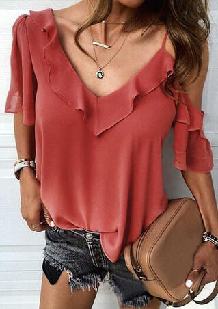 Solid One Shoulder Layered Blouse without Necklace - Brick Red