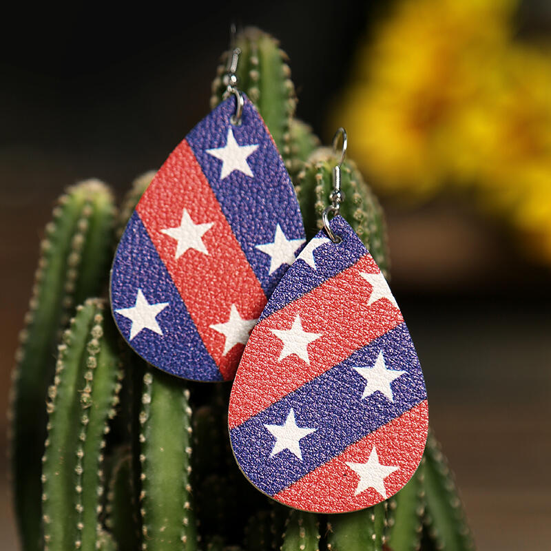 Striped Pentagram American Flag Earrings