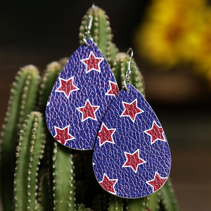 Pentagram American Flag Earrings