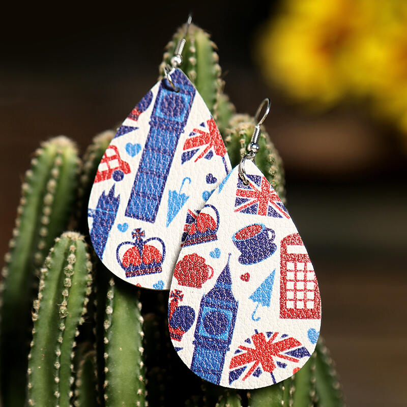 Coffee Cup American Flag Earrings