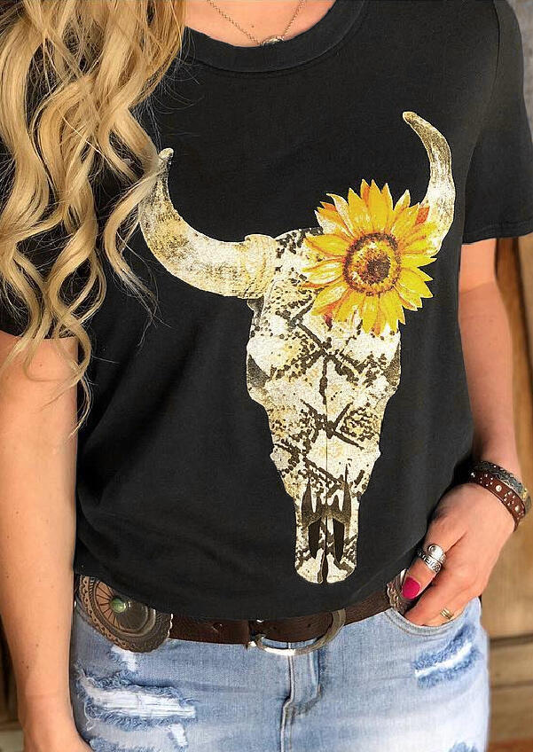 Steer Skull Sunflower T-Shirt Tee without Necklace - Black